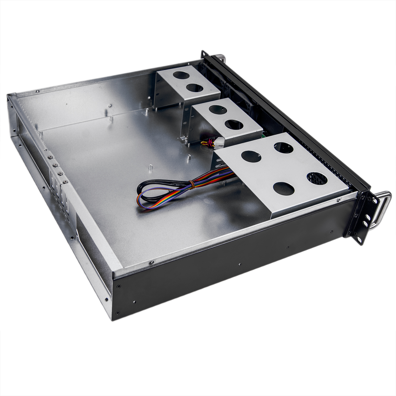 Серверный корпус 2U NR-N238CD 2x460W (ATX 9.6x9.6, 2x5.25ext, 4x3.5int, 380mm) черный, NegoRack