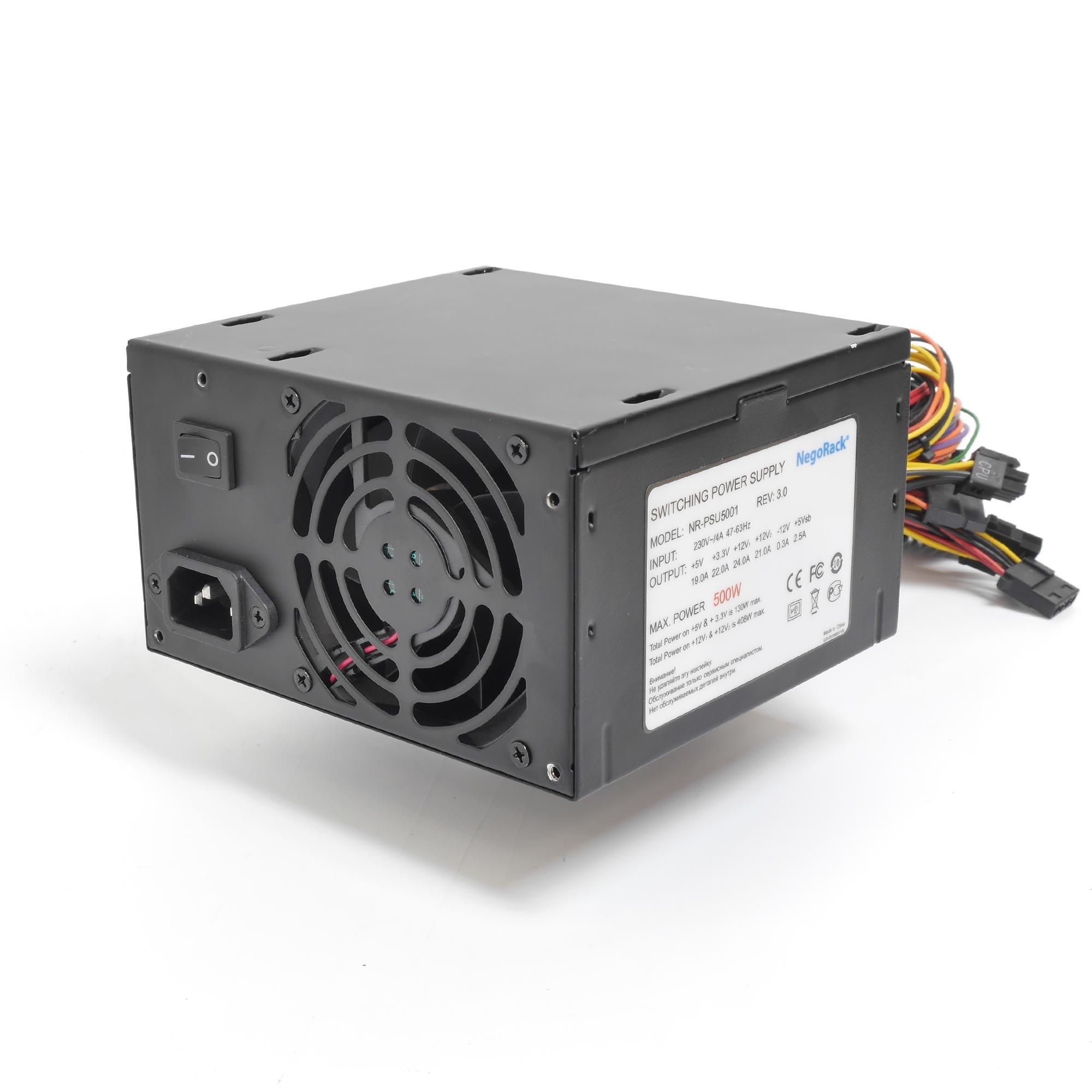 Блок питания ATX 500Вт NR-PSU5001 (24pin+8pin) 1x80mm fan, PS/2, EPS12V, Negorack