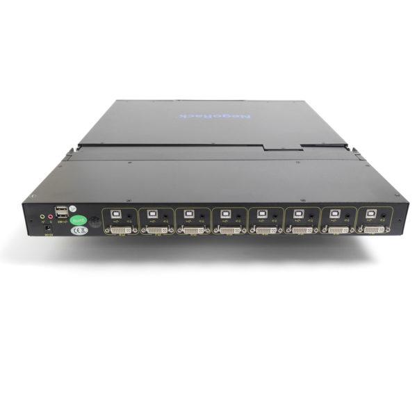 8-портовый КВМ переключатель с ЖК-дисплеем порты подключения DVI