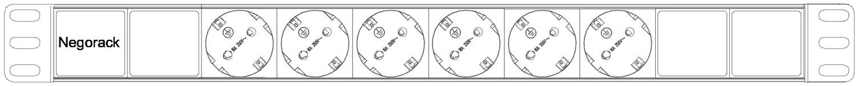 """Блок силовых розеток в стойку 19"""" NR-PDU6-C14-2M, 6 розеток, 16А, шнур 2м, вилка C14, 1U, Negorack"""
