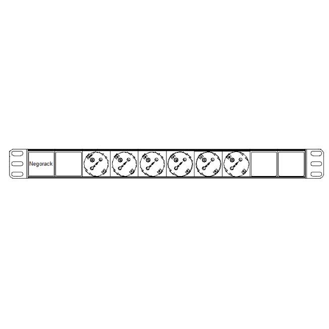 """Блок силовых розеток в стойку 19"""" NR-PDU6-EU-2M, 6 розеток, 16А, шнур 2м, Negorack"""