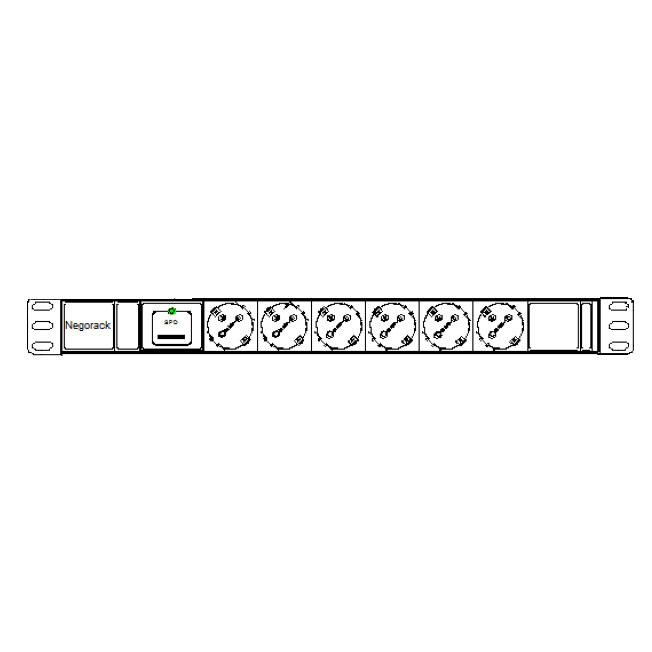 """Блок силовых розеток в стойку 19"""" NR-PDU6-SP-EU-3M, 6 розеток, 16А, фильтр, шнур 3м, Negorack"""
