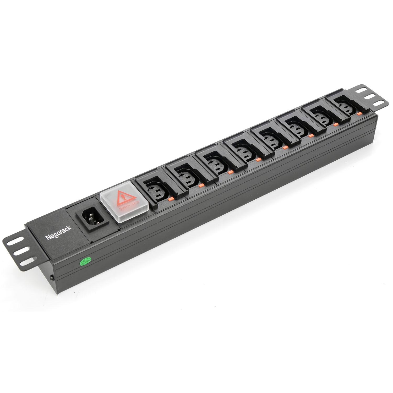 """Блок силовых розеток в стойку 19"""" NR-PDU8C13-SW-L, 16А, 8 розеток C13 с фикстором, 1U, Negorack"""