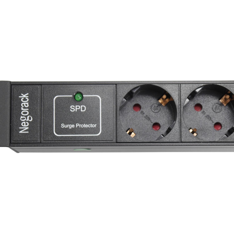 """Блок силовых розеток в стойку 19"""" NR-PDU8-SP-EU-3M, 16А, 3 метра, 8x Shucko, фильтр, 1U, Negorack"""