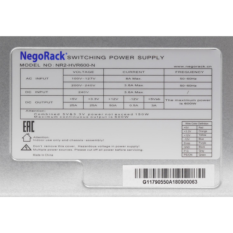 Блок питания ATX NR2-HVR600-N 2x600Вт с резервированием, КПД 95% PFC, EPS12V, 2U, Negorack