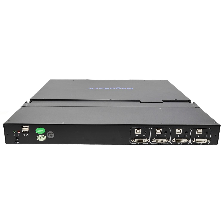 """Консоль 1U NR-MSR2904DVI rev2, 19"""" ЖК, 4 порта KVM, клавиатура, тачпад, кабели 4шт, Negorack"""