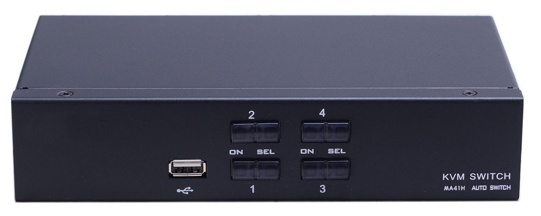 Переключатель KVM 4 порта HDMI, Audio, Microphone, 2xUSB, NR-MA41H, Negorack