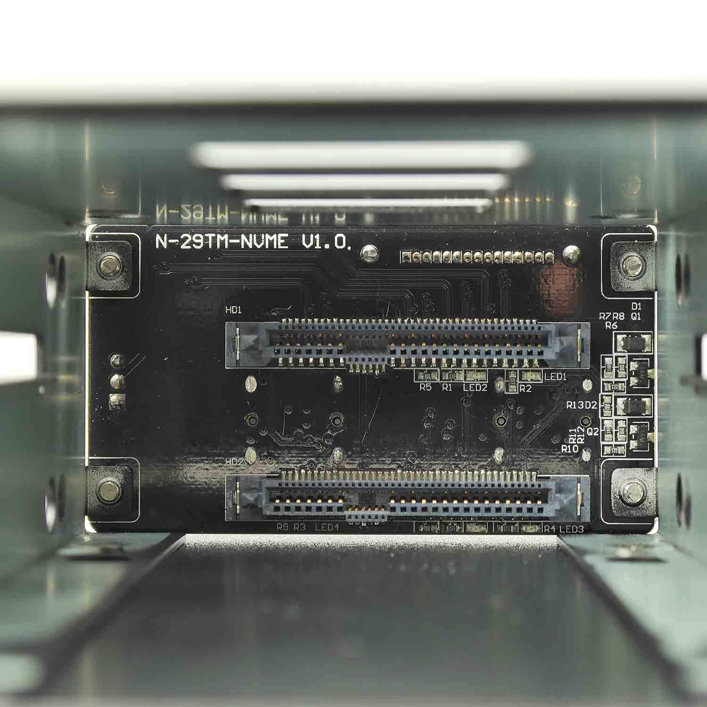 """Корзина NR-29NVME15 1 x 5.25"""" с салазками """"горячей"""" замены для 2 х 2,5"""" NVME, черная"""