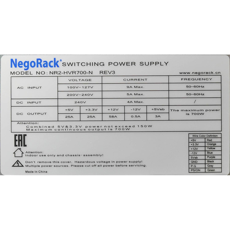 Блок питания ATX NR2-HVR700-N rev3 2x700Вт с резервированием, КПД 95% PFC, EPS12V, 1U, Negorack